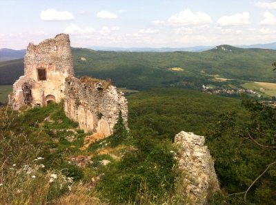 Gymes castle towers above the Small Carpathian forests ©englishmaninslovakia.com
