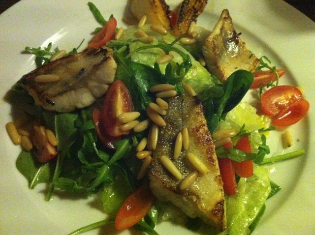 Zubáč with a scrumptious pine nut and aubergine salad...