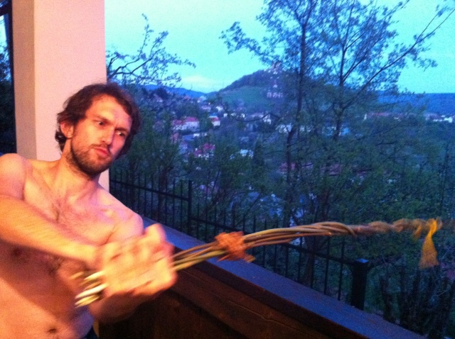 "Quite possibly the picture I'll most regret having as an intro… me with ""improvised"" šibák in action..."