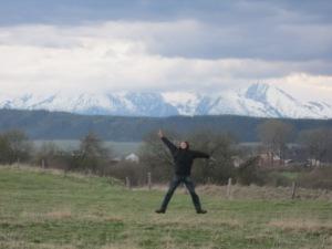 Jumping for joy in Hrabusice ©englishmaninslovakia.com
